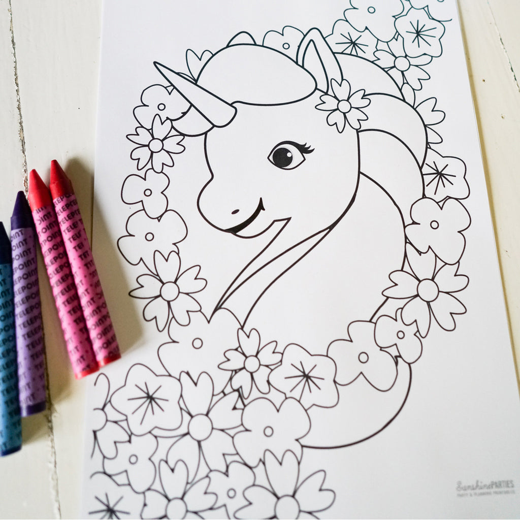Unicorn Birthday Party Coloring In Page
