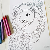 Unicorn Birthday Party Coloring-In Page | Unicorn Party Activity