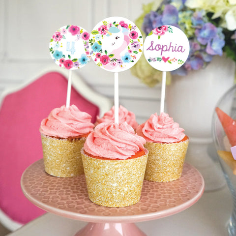 Unicorn Cupcake Toppers | Unicorn Cupcake Wrappers | Gold Glitter Unicorn