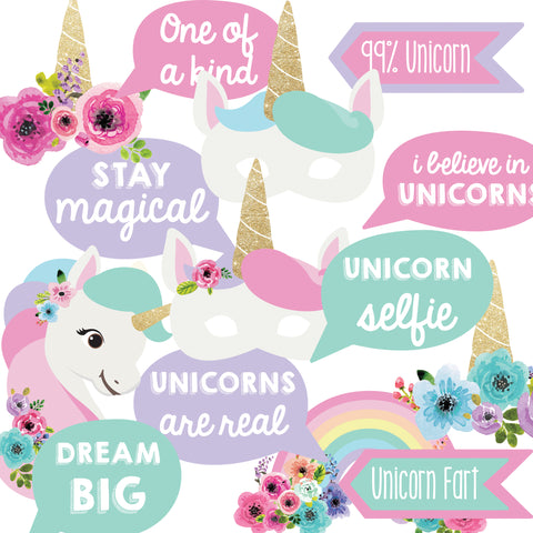 Unicorn Photo Booth Printables for unicorn party