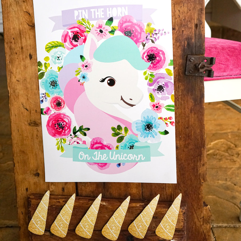 Unicorn Birthday Party Game | Pin The Horn On The Unicorn | Pastel Floral Unicorn Party Game