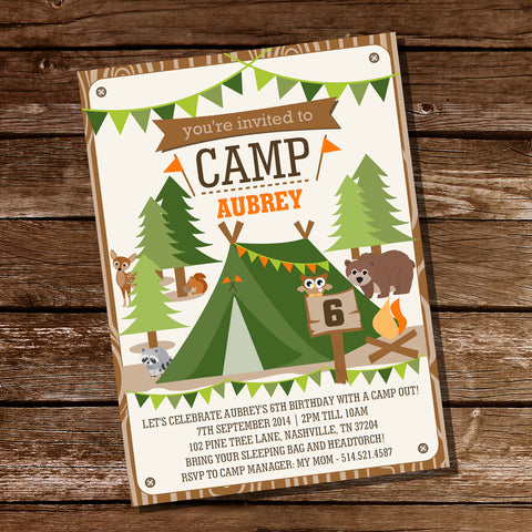 backyard camping party invitation for a girl or boy summer campout invite - Camping Party Invitations