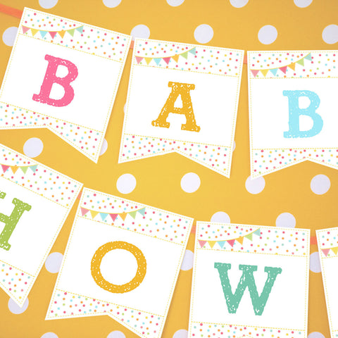 Unisex Sprinkle Baby Shower Banner For A Girl or Boy