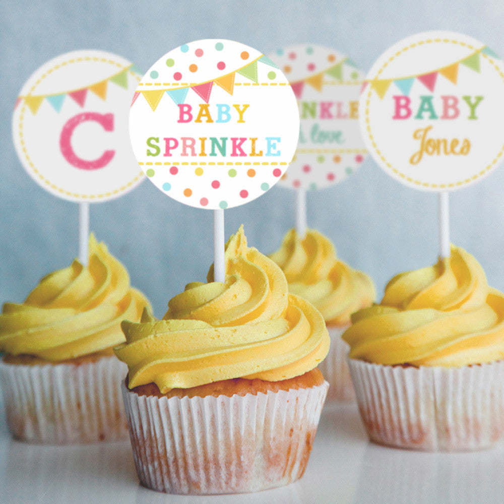 Unisex Sprinkle Baby Shower Cupcake Toppers | Unisex Baby Shower