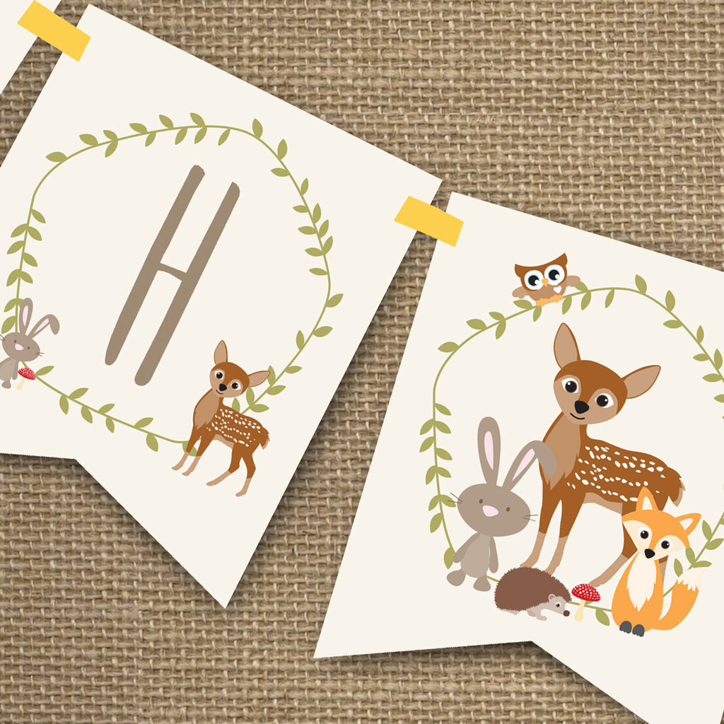 Woodland Baby Shower Banner for a Boy Or Girl | Yellow Baby Shower