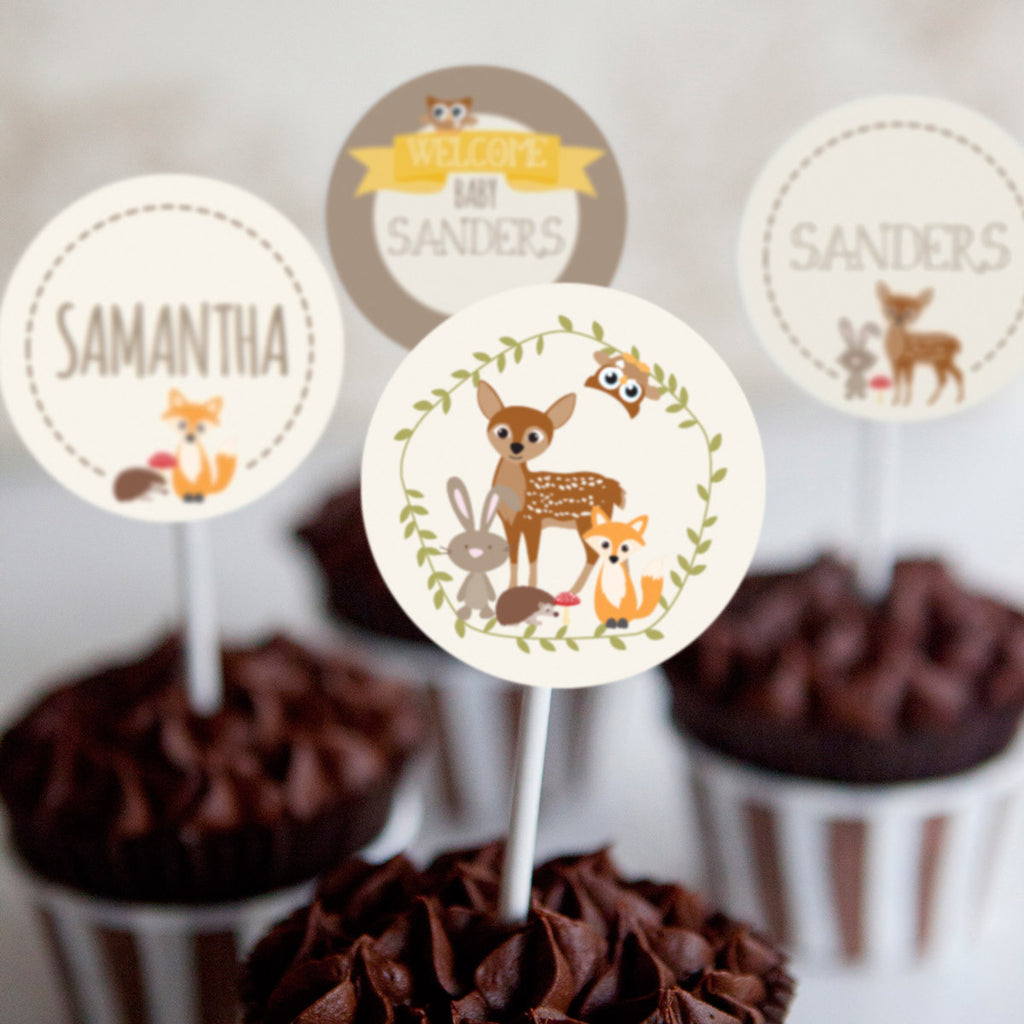 Woodland Baby Shower Cupcake Toppers For a Boy Or Girl