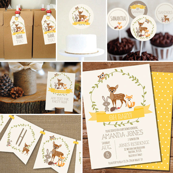 Yellow Woodland Baby Shower Decorations