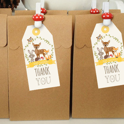 Woodland Baby Shower Favor Tags | Unisex Woodland Party Favors