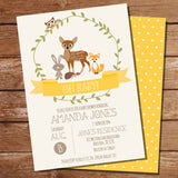 Woodland Baby Shower Invitation For a Boy Or Girl | Yellow Baby Shower