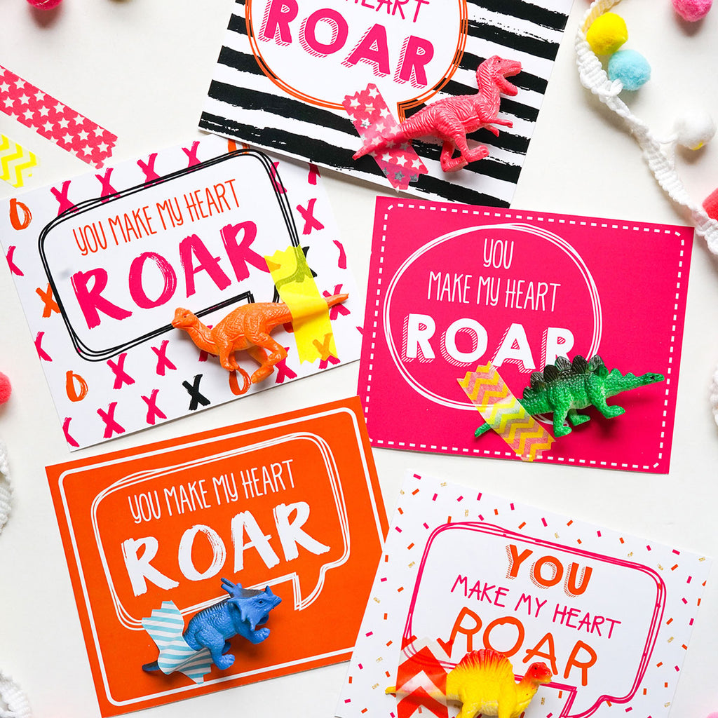 Valentine's Gift Cards and Tags for Kids - You Make My Heart Roar