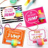 Valentine's Gift Cards and Tags for Kids - You Make My Heart Jump