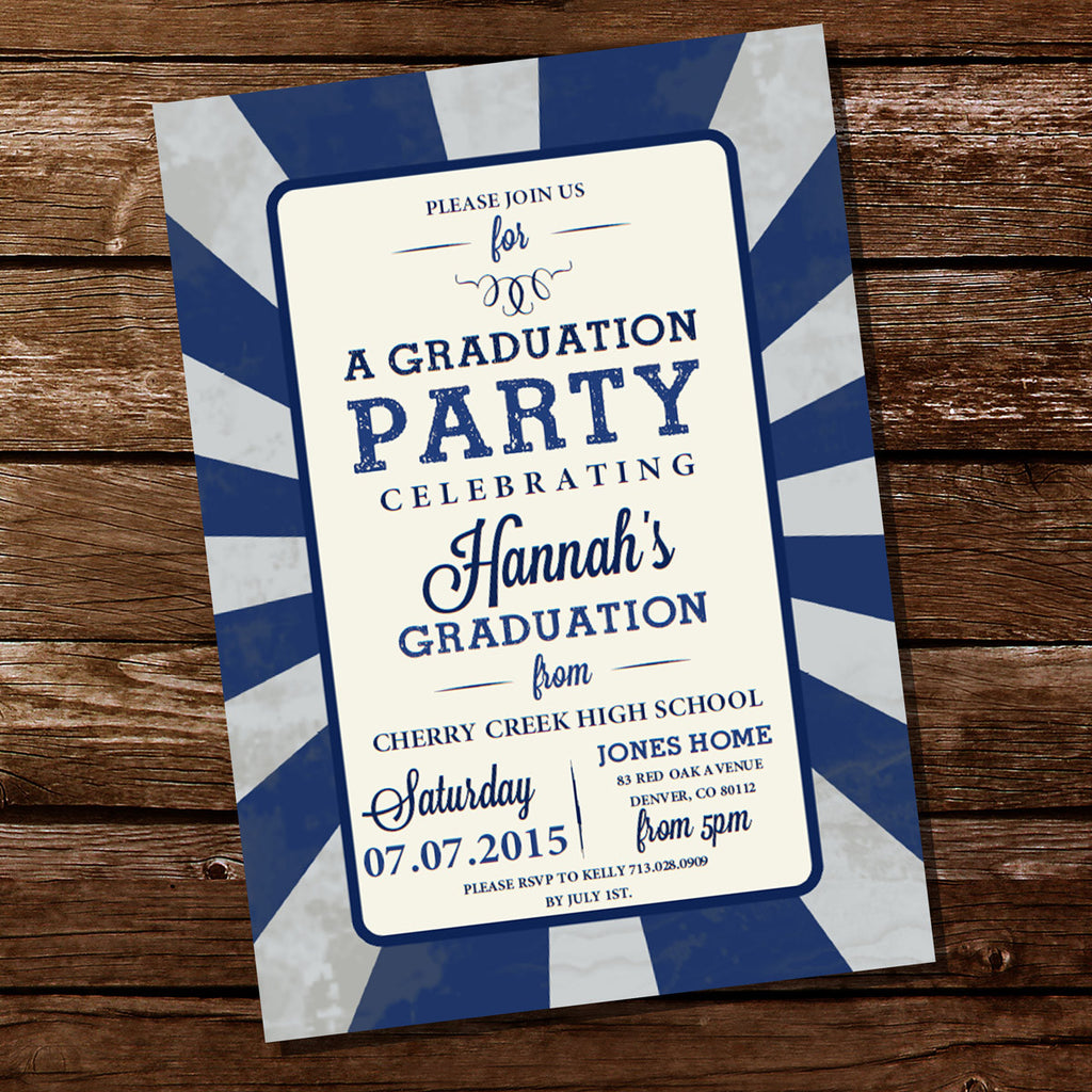 Blue Vintage Graduation Party Invitation