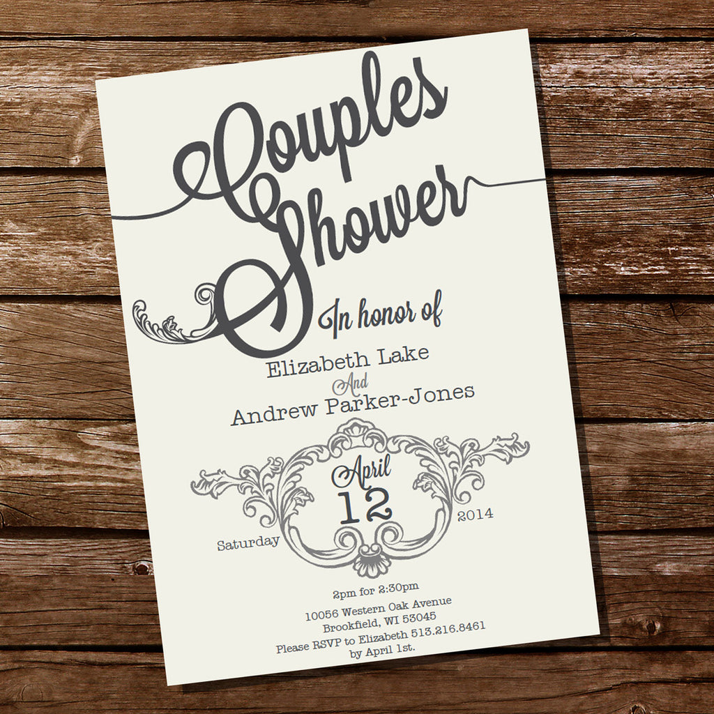 Vintage Couples Shower Invitation