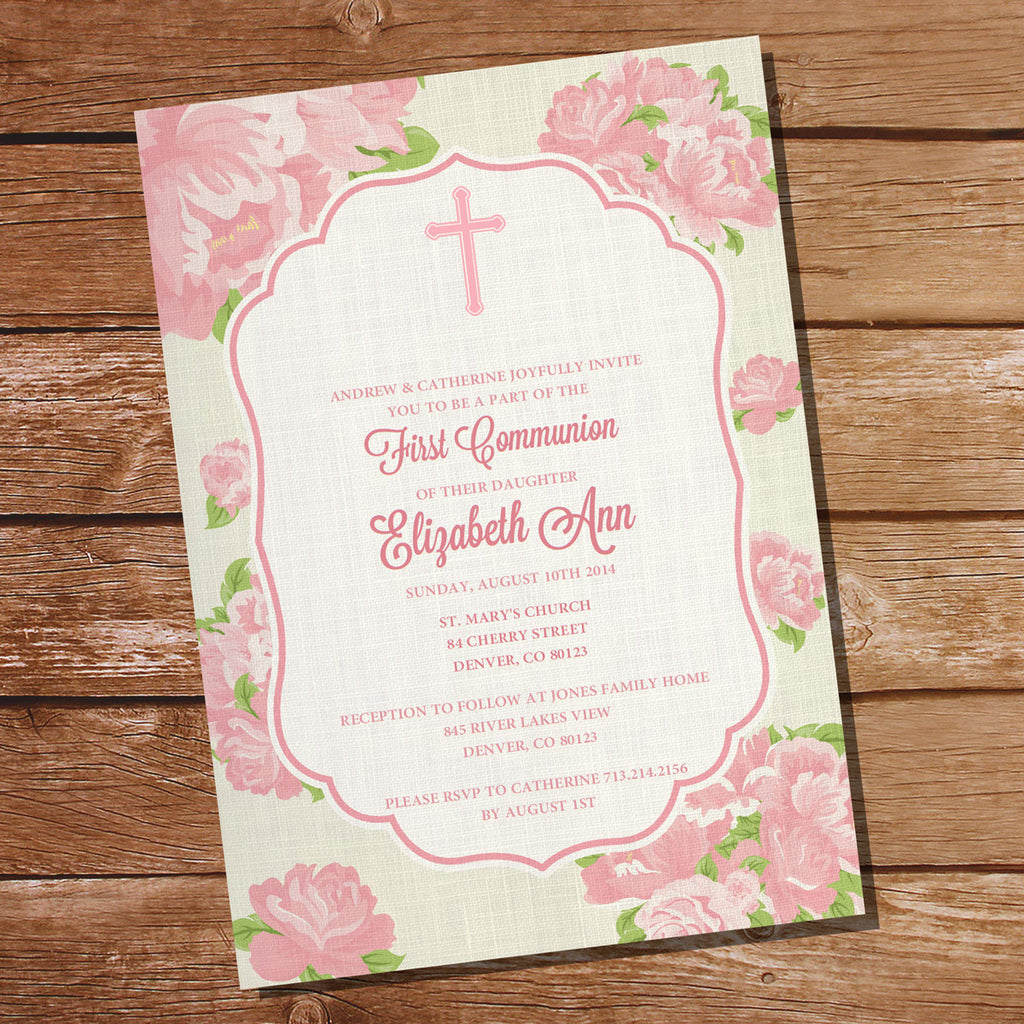 Floral First Communion Invitation | Baptism Invitation for Girls | Christening