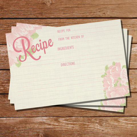 Vintage Floral Recipe Cards | Watercolor Floral