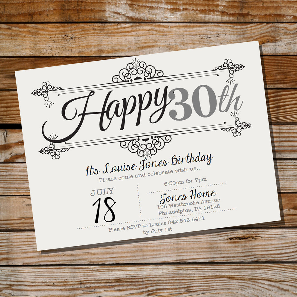 Vintage Frame Birthday Invitation | Ornate Vintage 30th Birthday ...