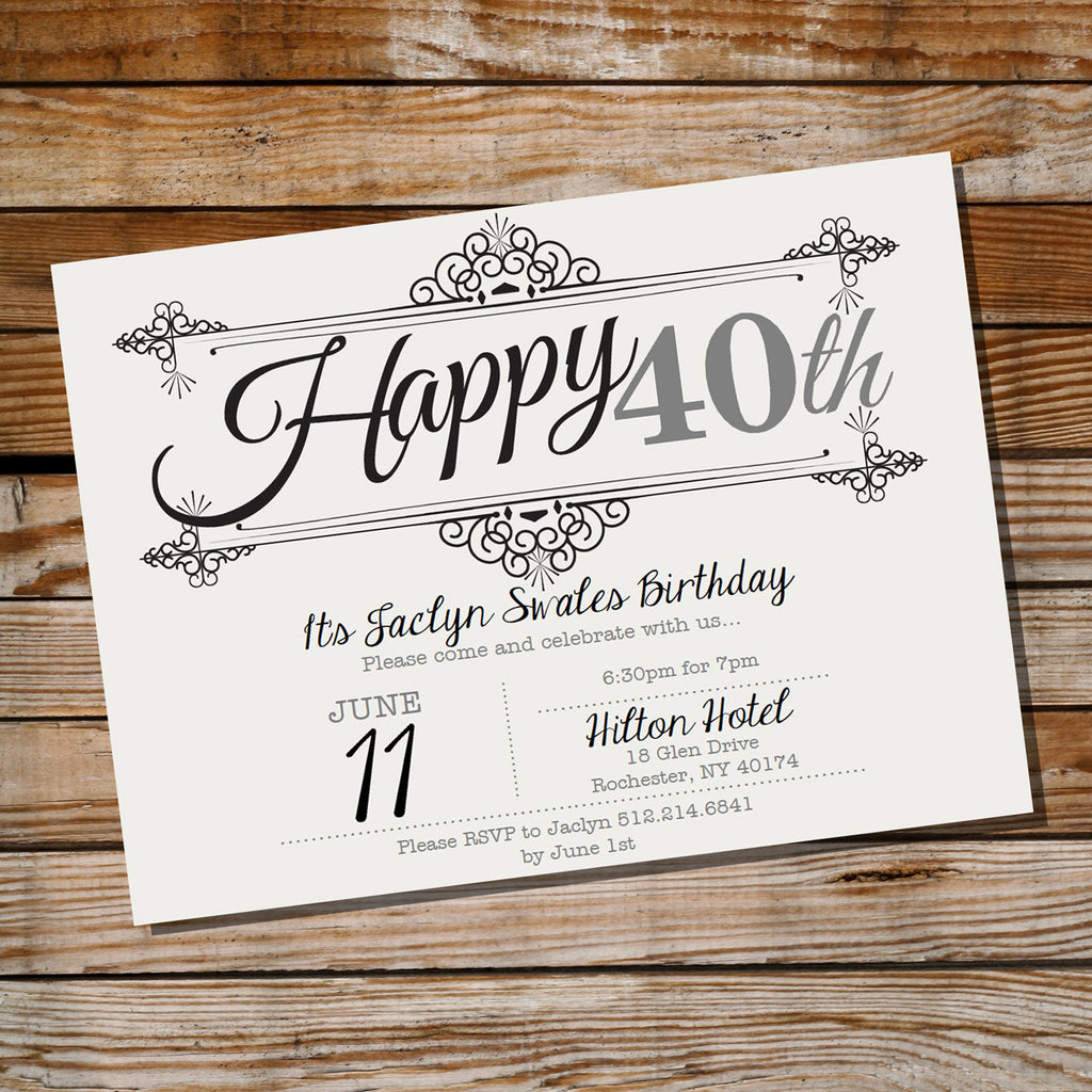 Vintage Frame Birthday Invitation