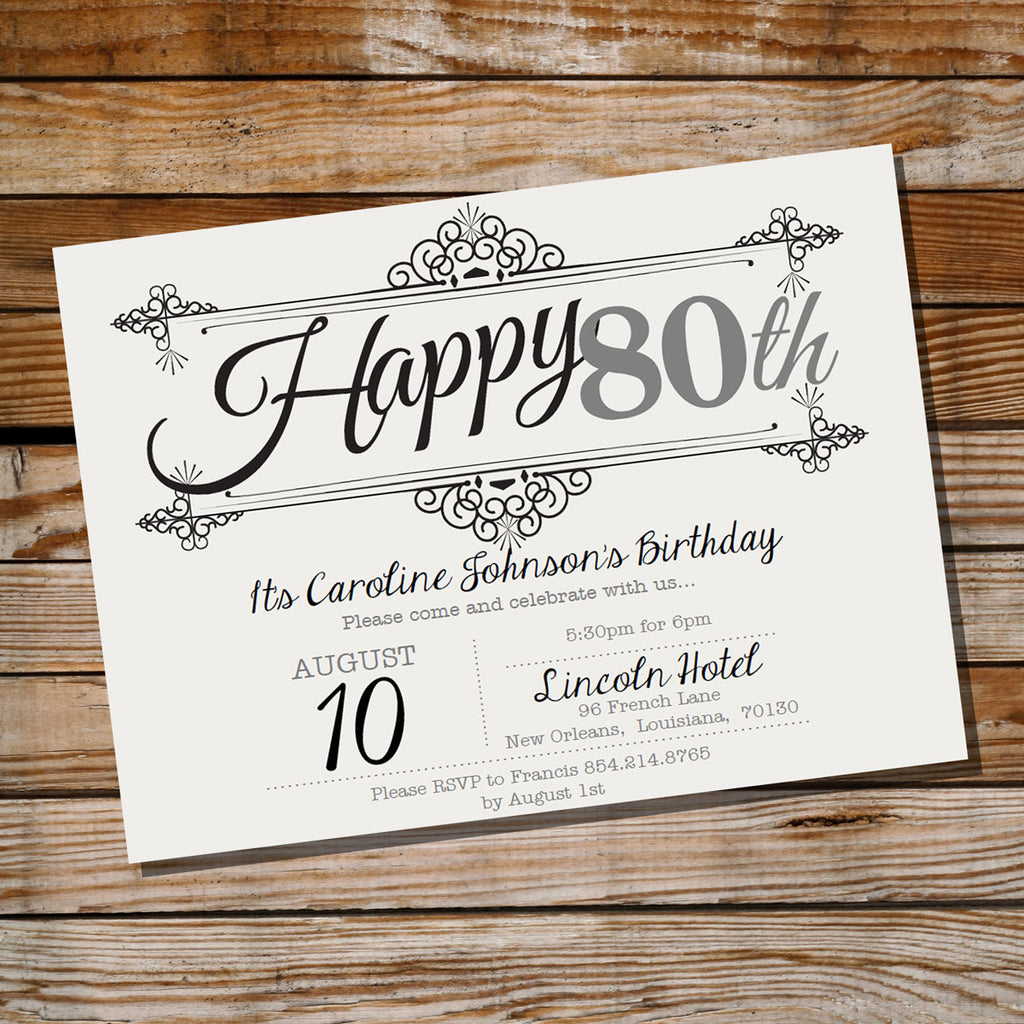Vintage Frame Birthday Invitation Ornate Vintage 80th Birthday