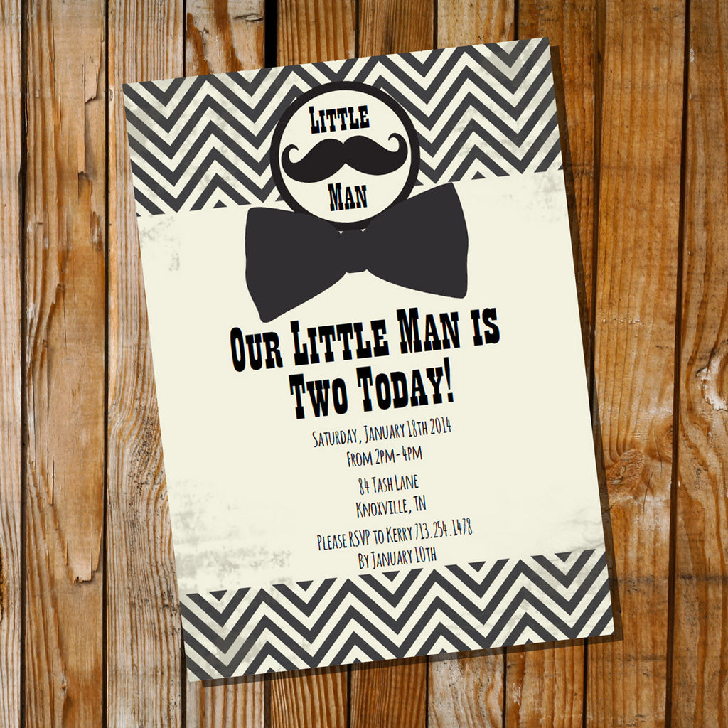 Vintage Little Man Birthday Party Invitation | Mustache Invitation