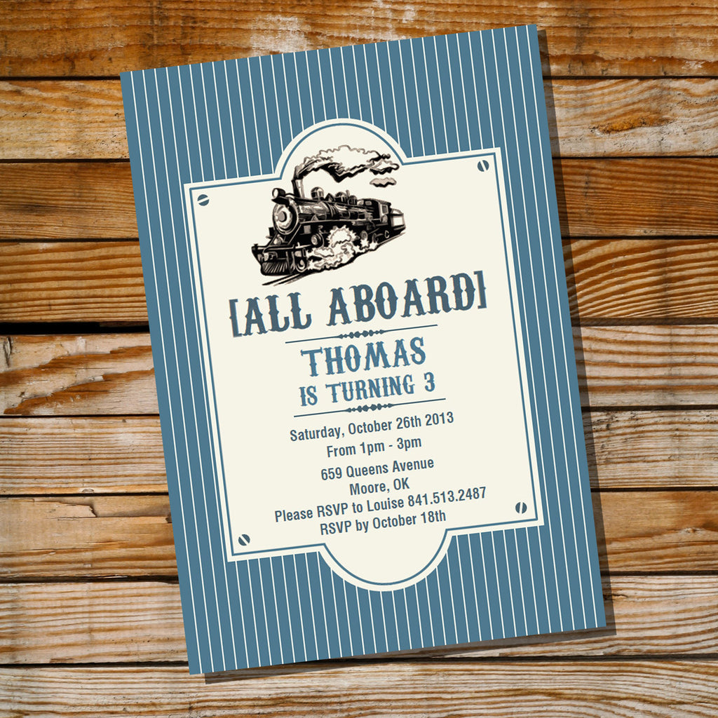Vintage Train Birthday Party Invitations