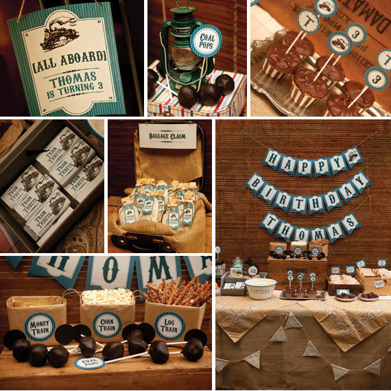 Vintage Train Birthday Party Decorations | Steam Train Party