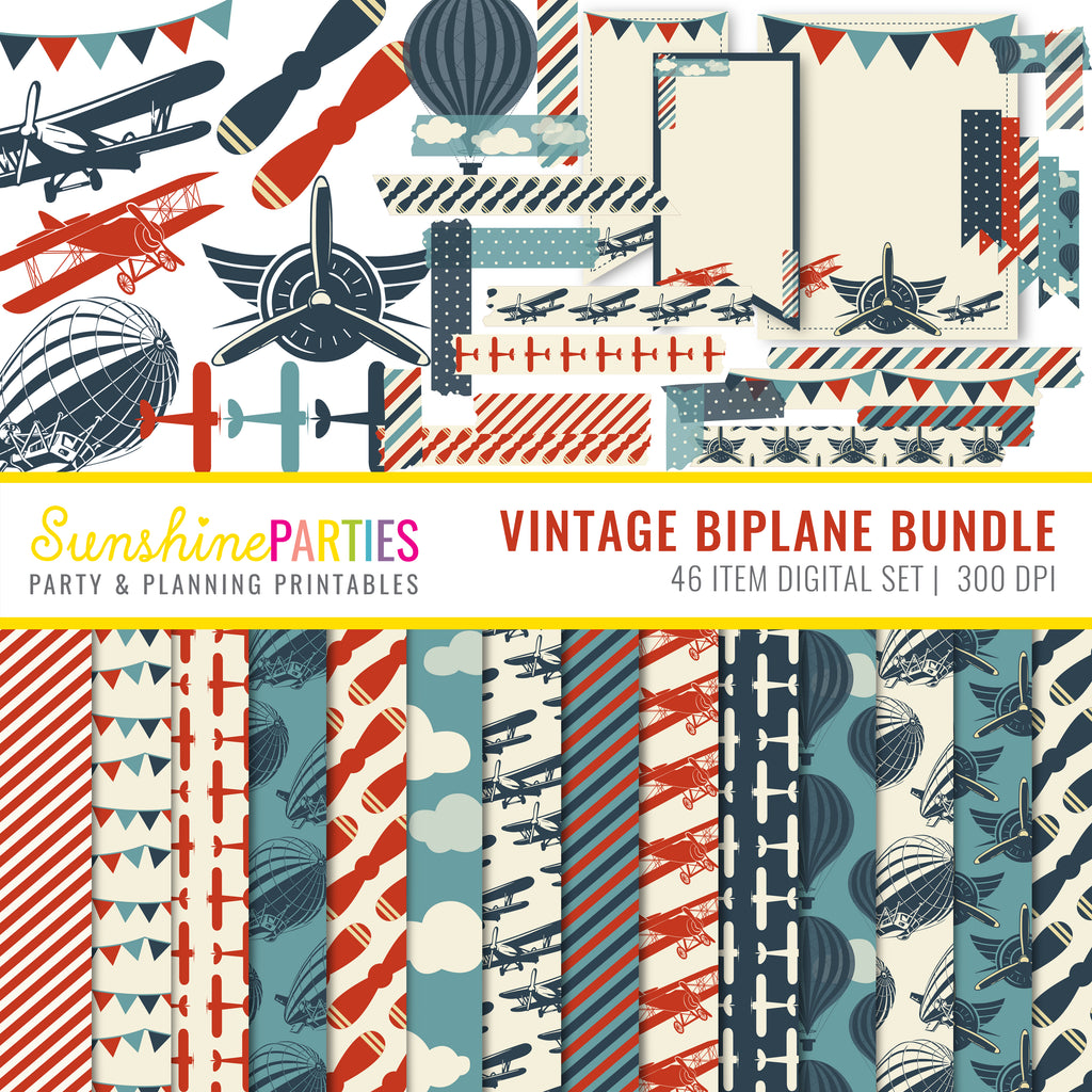 vintage aviation digital paper set