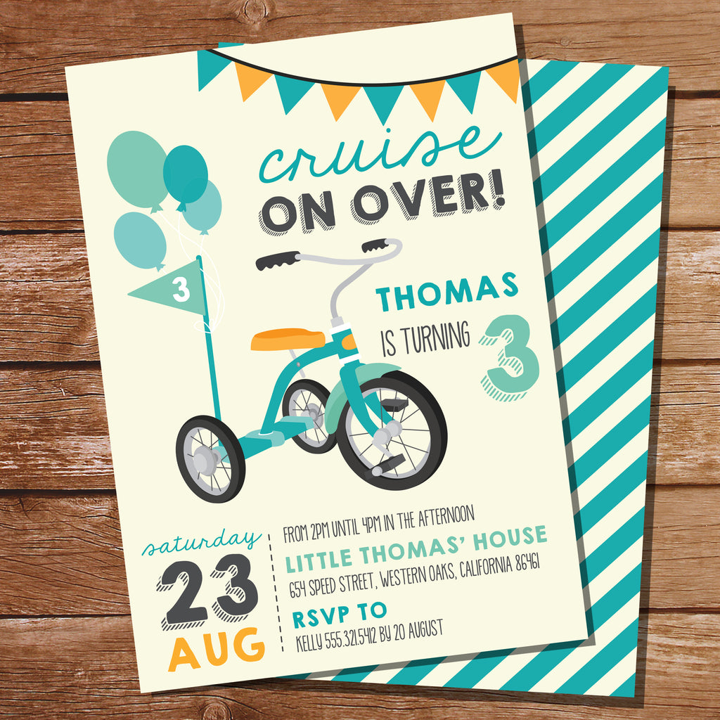 Blue Tricycle Party Invitation