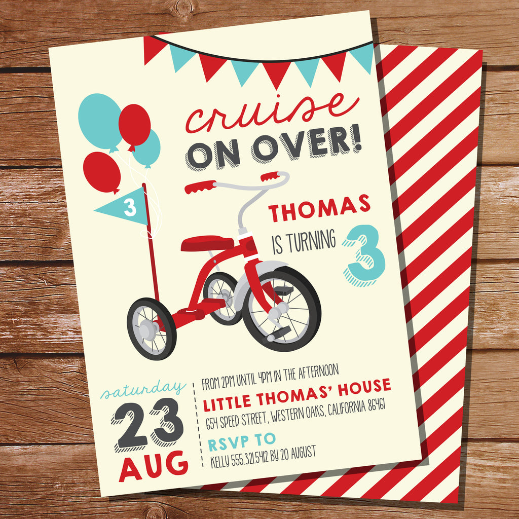 Red Tricycle Party Invitation