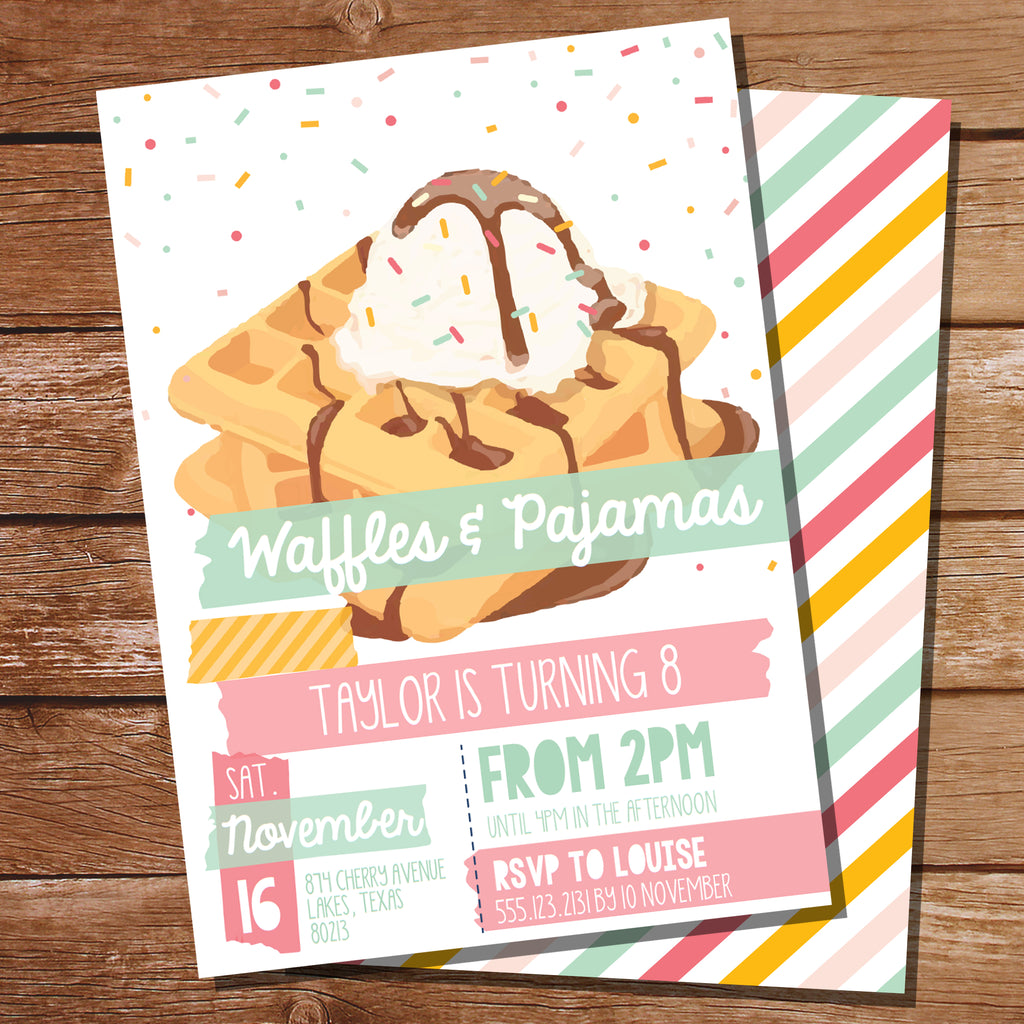Vintage Waffle Party Invitation
