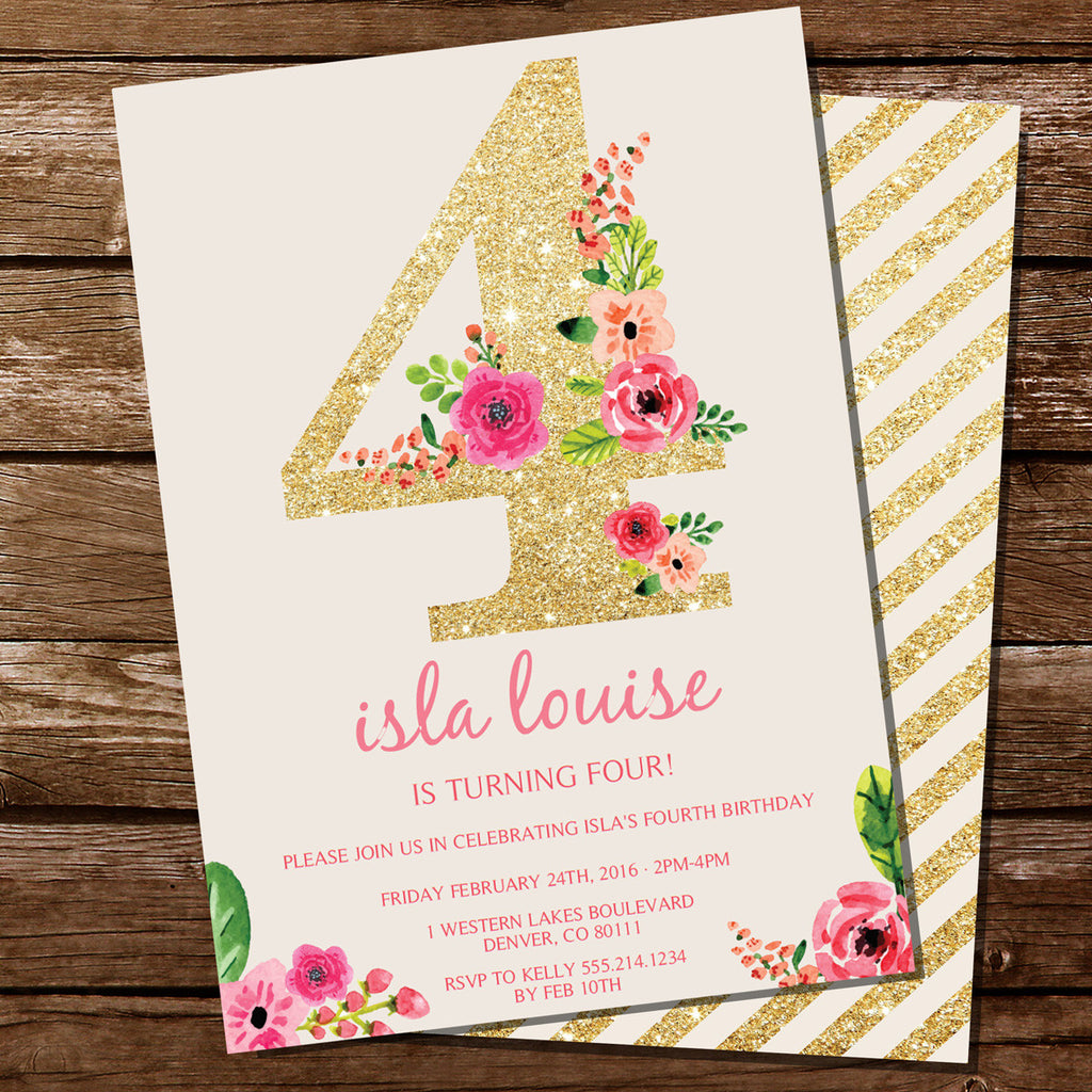 Fourth Birthday Party Invitation For A Girl | Gold Glitter Floral Watercolor