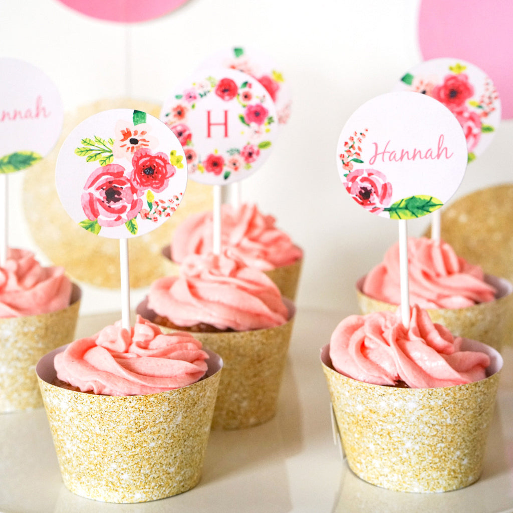 Half Birthday Party Cupcake Toppers | Gold Glitter Floral Watercolor Toppers