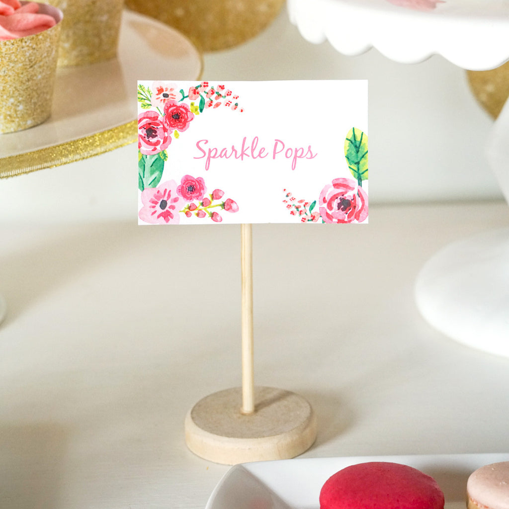 half birthday party food label tent cards  gold glitter floral, Birthday card