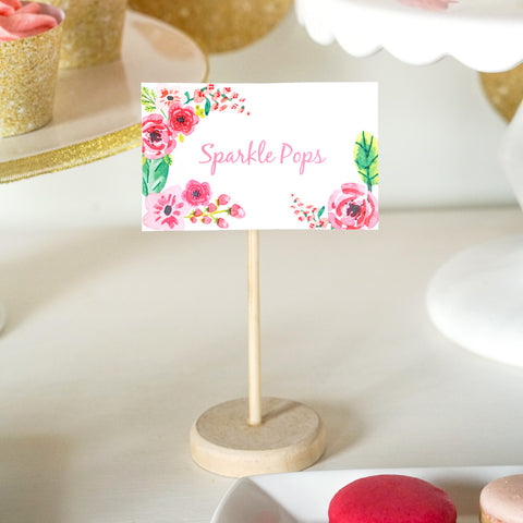 Printable kids birthday party invitations and decorations page 10 half birthday party food label tent cards gold glitter floral watercolor buffet cards filmwisefo