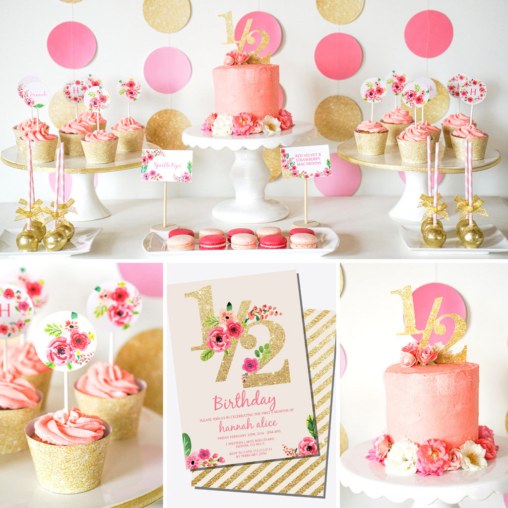 Half Birthday Decorations | Gold Glitter Floral Watercolor ...