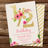 Glitter Half Birthday Invitation for A Girl