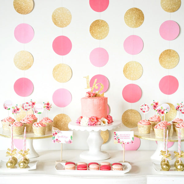 Half Birthday Decorations Gold Glitter Floral Watercolor