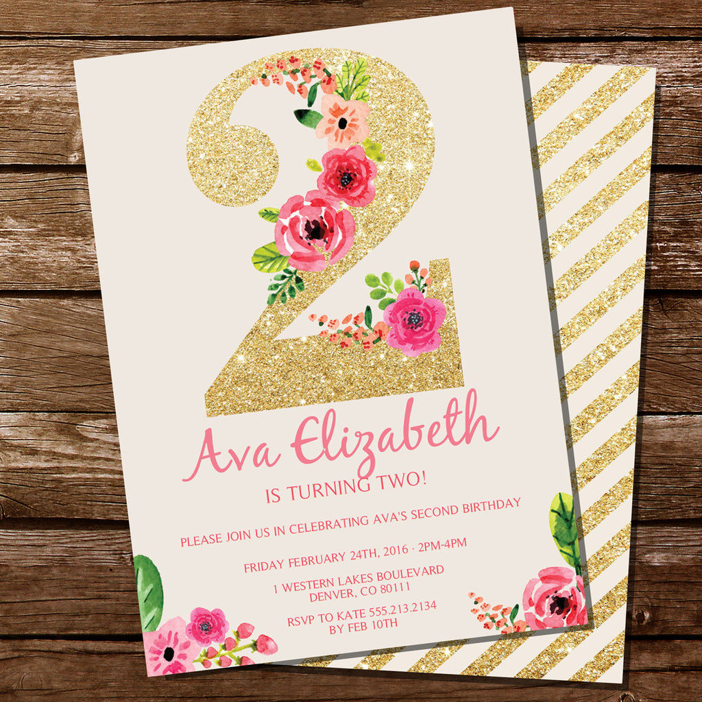 Second birthday party invitation for a girl gold glitter floral how it works filmwisefo
