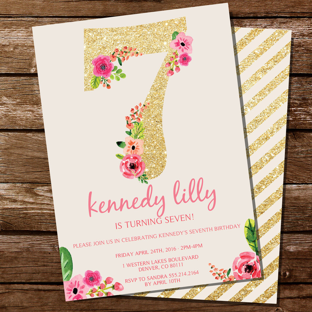 Seventh Birthday Party Invitation For A Girl | Gold Glitter Floral ...