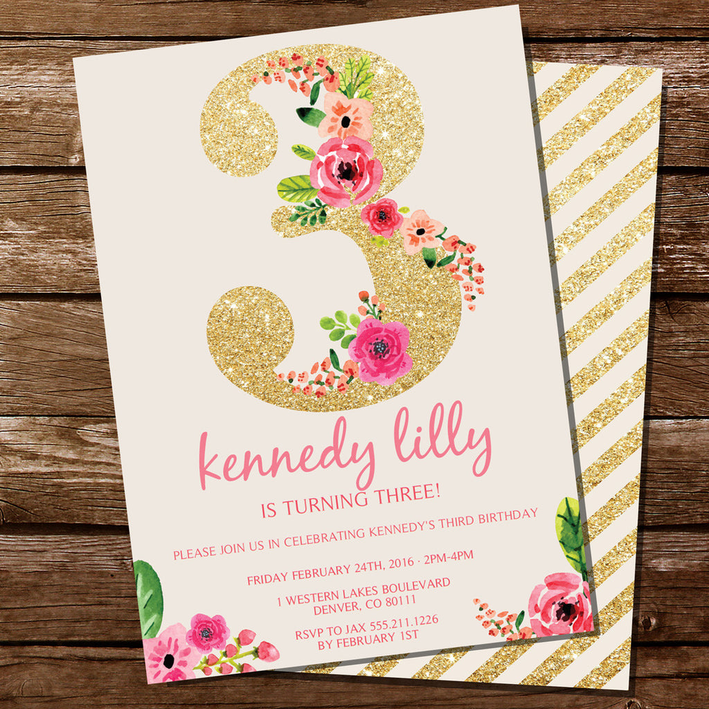 Third Birthday Party Invitation For A Girl | Gold Glitter Floral Watercolor