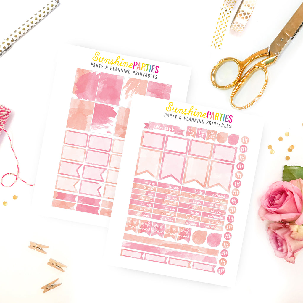 Pink Watercolor Chevron Planner Stickers | Organizer Planner Stickers