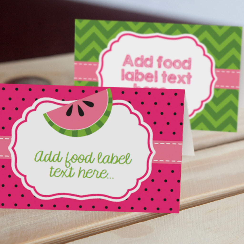 Summer Watermelon Party Food Label Tent Cards | Pool Party Labels