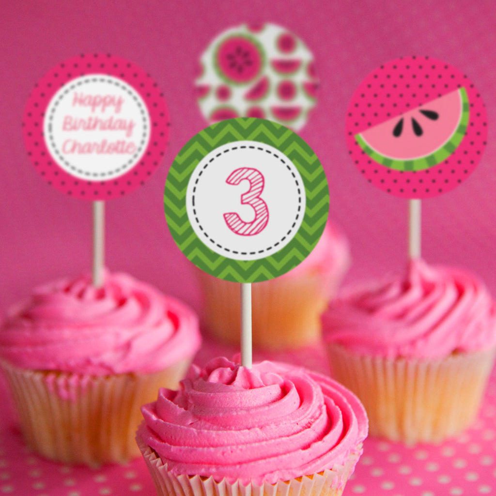 Summer Watermelon Party Cupcake Toppers | Pool Party Toppers