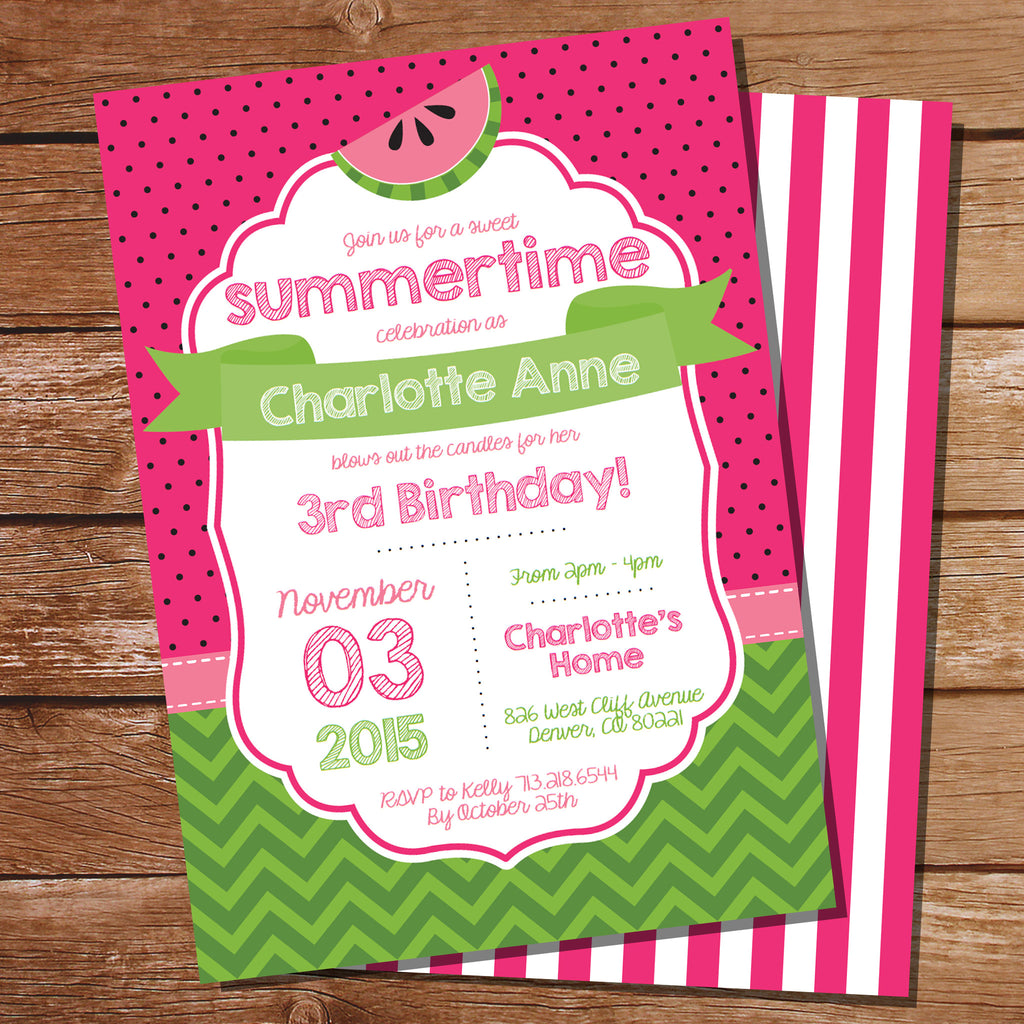 Summer Watermelon Party Invitation | Pink Party Invite