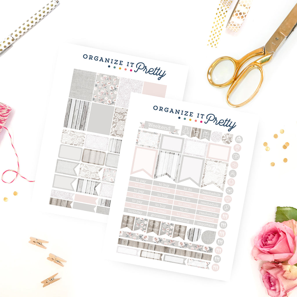 White lace and Roses Planner Sticker Designs