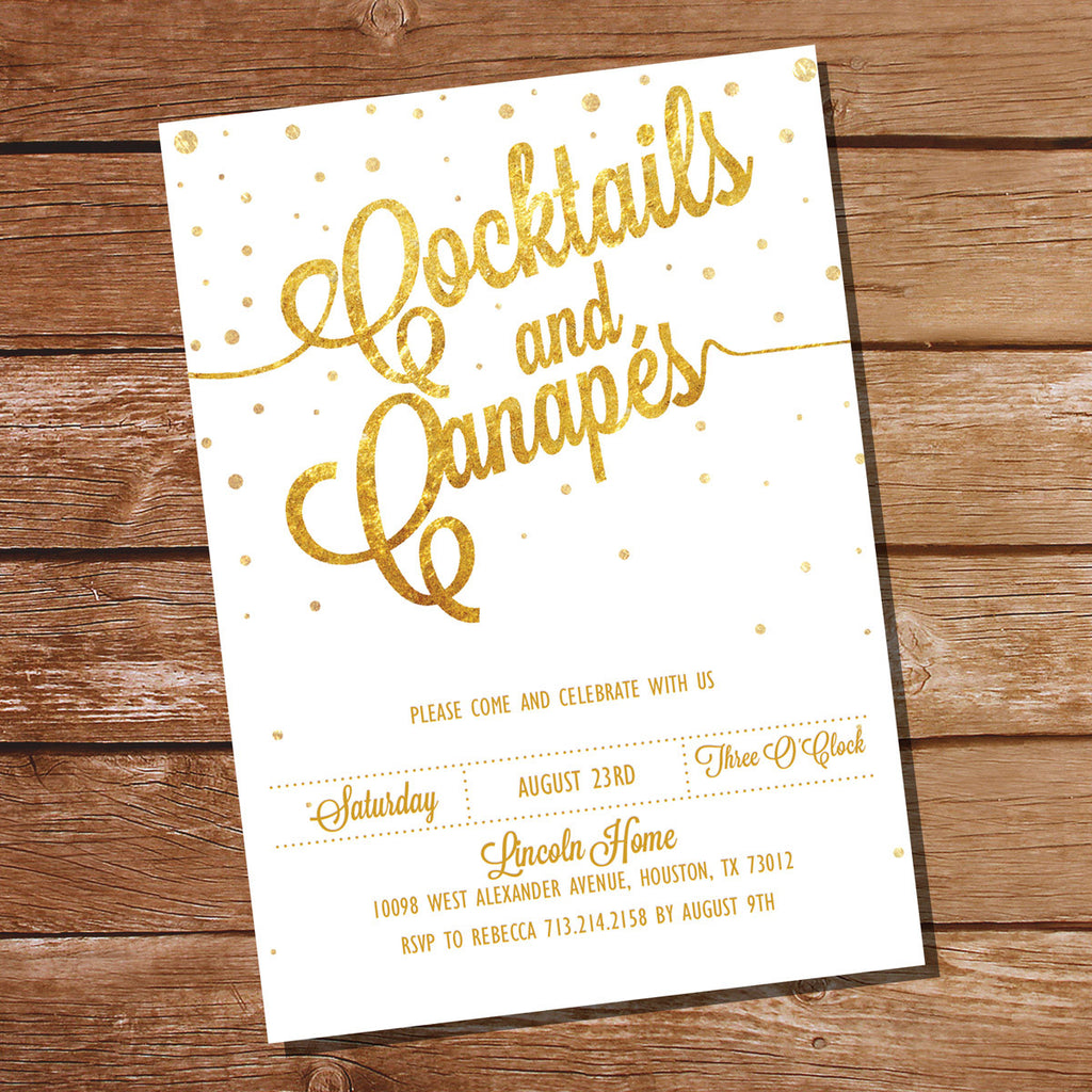 White And Gold Glitter Cocktail Party Invitation