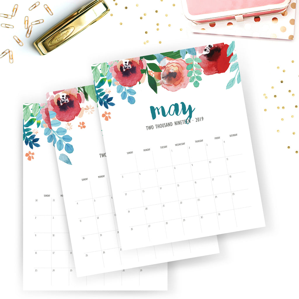 Printable 2019 Monthly Calendar | Wild Flower Printable Planner | Floral Watercolor Calendar