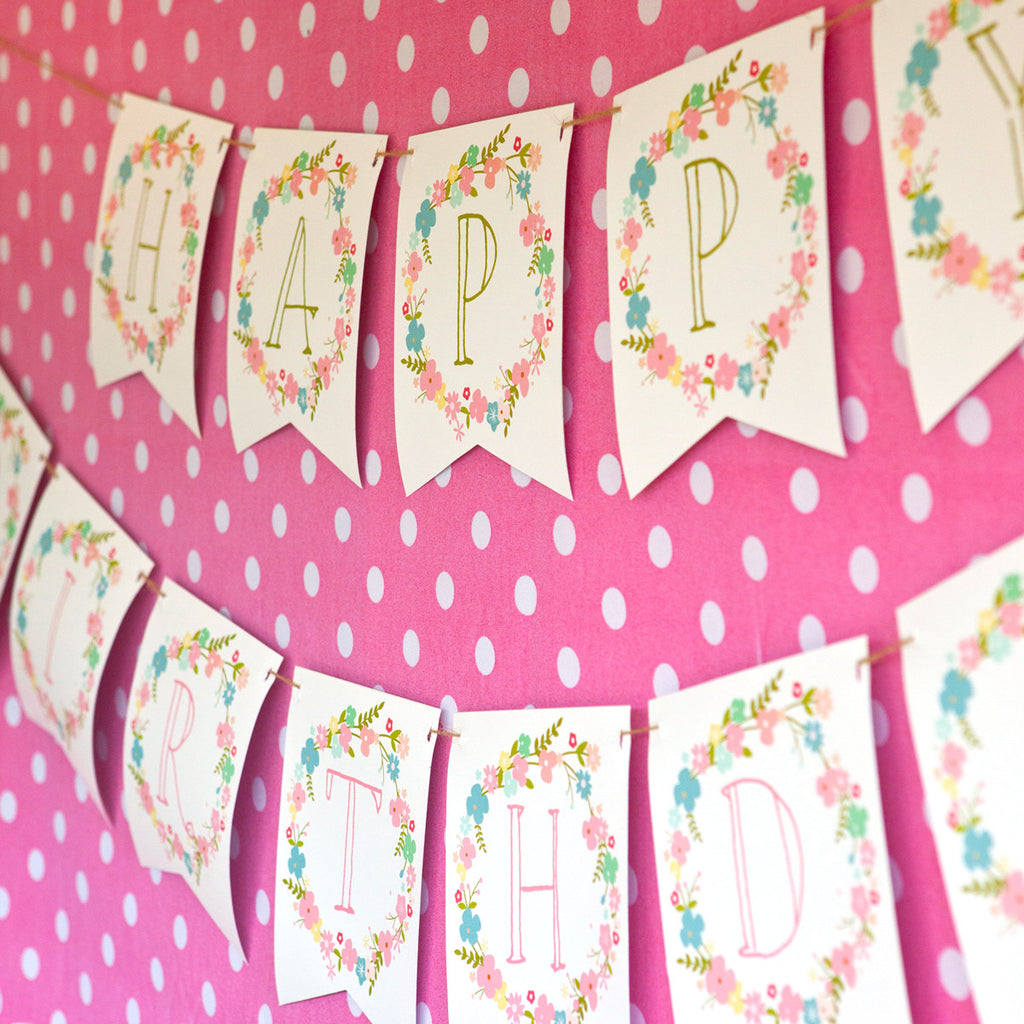 Wildflower Party Happy Birthday Banner | Pretty Flower Banner