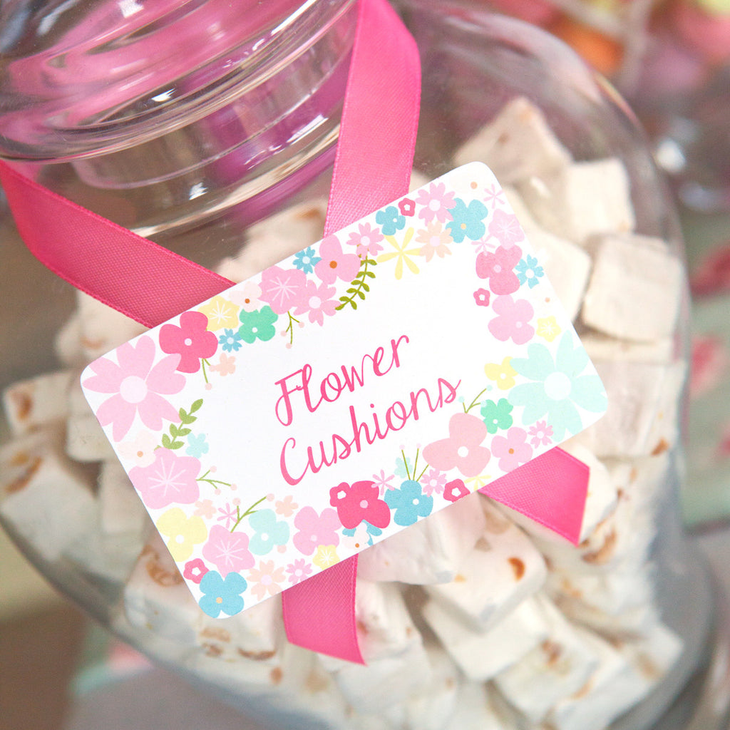 Wildflower Party Food Label Tent Cards | Pretty Flower Buffet Cards