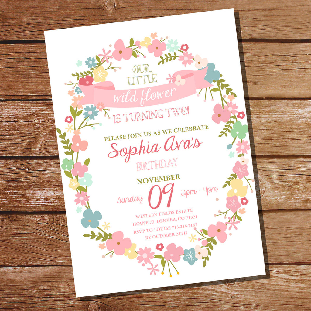 Wildflower Party Invitation | Pretty Flower Invite Template