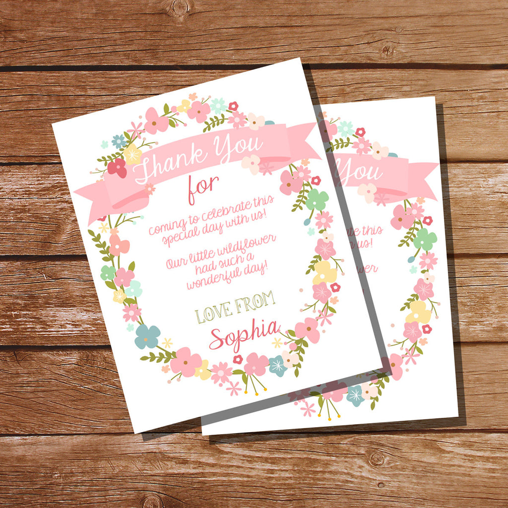 Wildflower Party Thank You Cards | Pretty Flower Thank You Note Template
